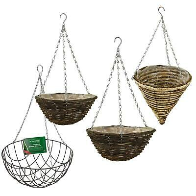 """Natural Wicker Dark Rattan Hanging Basket Round Cone Coned 12 14 16/"""" Lined Chain"""