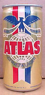 ATLAS CERVEZA 10 OZ Foreign Beer CAN with Eagle, PANAMA 1+, Bottom-opened, NICE