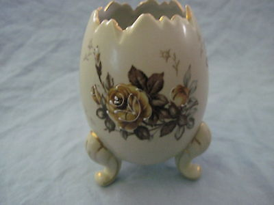 Beautiful Large NAPCOWARE PORCELAIN PAINTED EGG VASE Brown FOOTED