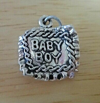 Sterling Silver Baby Blanket Baby say Boy on one side & Girl on other Twin Charm