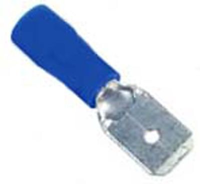 6mm Blue Male Spade Terminals - 6mm Blue Male Spade Crimp Terminals x100