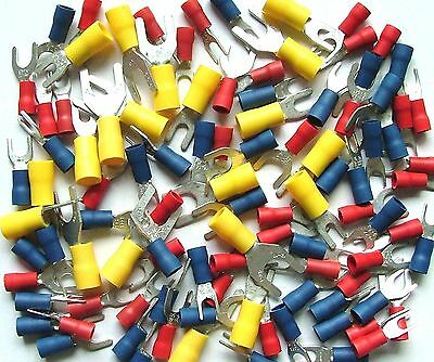 Mixed Fork Terminals, Red, Blue, Yellow - Crimp-on Fork Terminals x100