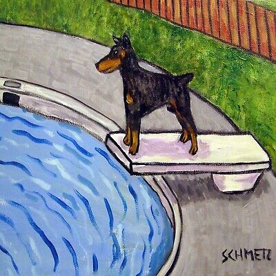 Doberman Pinscher on A diving board 4.25 dog art tile  coaster gift at the pool