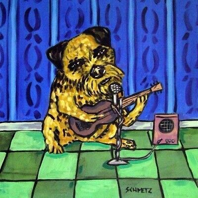 Border Terrier guitar picture ceramic dog art tile
