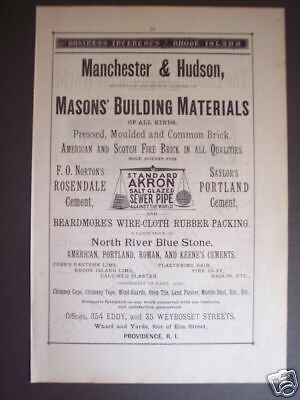 1881 original AD Manchester & Hudson Masons' Suplies RI