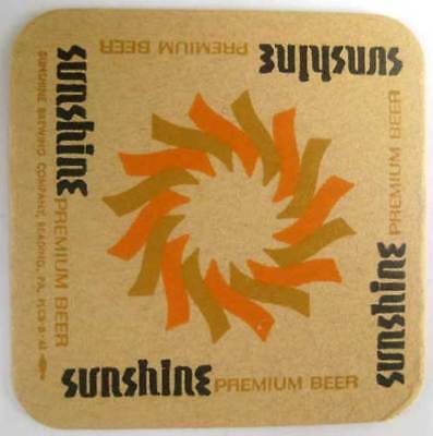 SUNSHINE BEER Sunburst COASTER, Mat with SUN, Reading PENNSYLVANIA