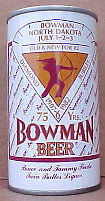 BOWMAN BEER ss CAN with Indian North Dakota, Cold Spring Brwy, MINNESOTA 1982 1+