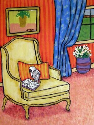 AFRICAN GREY PARROT reading study signed bird art print gift librarian 11x14