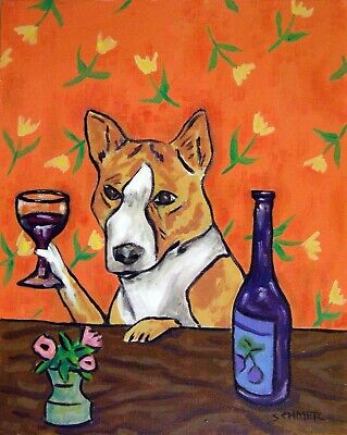 BASENJI AT THE WINE BAR picture dog art print 11x14