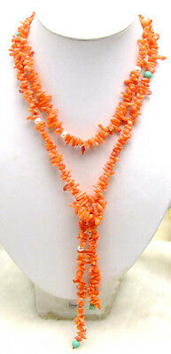 """SALE Natural Orange small branch coral 45"""" necklace 6mm natural white pearl-5185"""