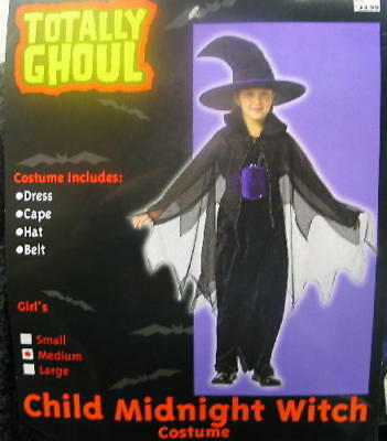 Child's Midnight Witch Halloween Costume, Medium 5-7