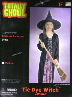 Child's Tie Dye Witch Halloween Costume, NEW Medium 5-7