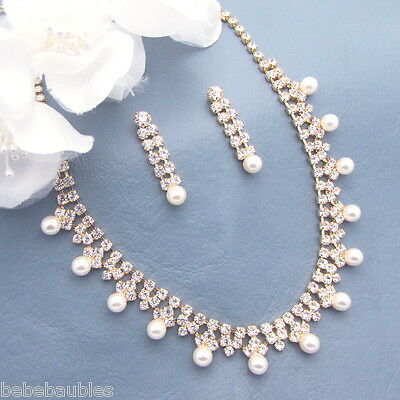 Pearl Necklace Set Bridal Wedding Bridesmaid Gift Jewelry Crystal Gold Gp #26
