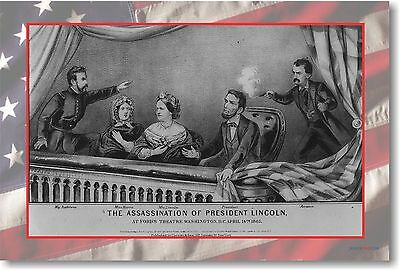 The Assassination of President Lincoln April 14, 1865 - NEW Vintage POSTER