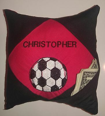 PERSONALIZED Tooth Fairy Pillow with poem for a SOCCER fan!!  Hidden pocket!!