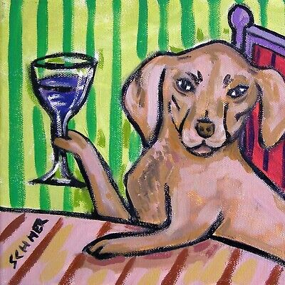 vizSla at at the wine bar coaster animal dog art tile