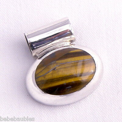 Brown & Gold TIGERS EYE .925 Sterling Silver PENDANT Charm 19.5 gms MEXICO New