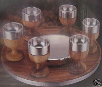 6 Pcs Communion Set Acacia Wood Stainless Steel