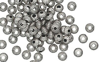 100 Antiqued Silver Plated Brass Corrugated Saucer Beads   ~  5x3mm