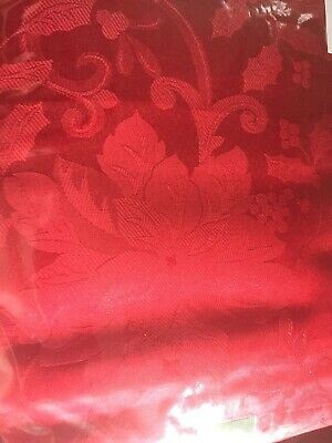 "Holiday Red Poinsettia Damask Christmas Tablecloth 60X 84"" Oblong NEW"