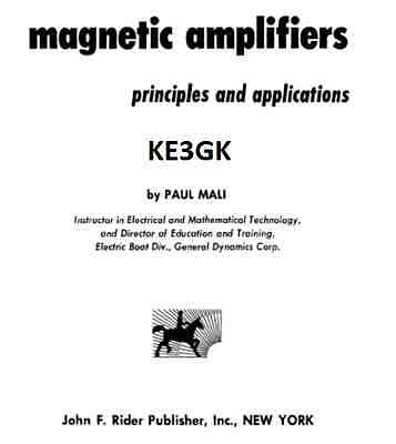 Magnetic Amplifiers: Principles and Applications * CDROM * PDF