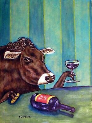 COW WINE 11x14 signed art PRINT farm animals impressionism gift new