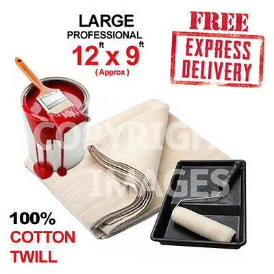 """10*LARGE DUST SHEETS(12""""x9"""")100% COTTON TWILL**FREE P&P"""