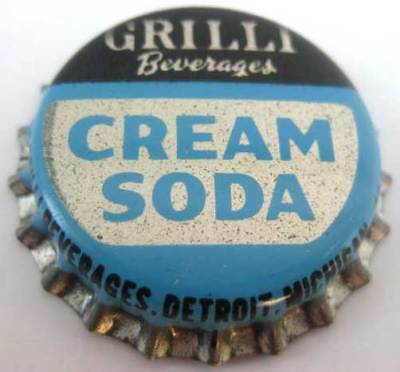 GRILLI CREAM SODA Cork-lined Crown Bottle Cap, MICHIGAN