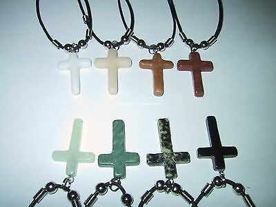 12x Semi-Precious Stone Cross Necklaces - Bulk Wholesale Lot - NEW!!