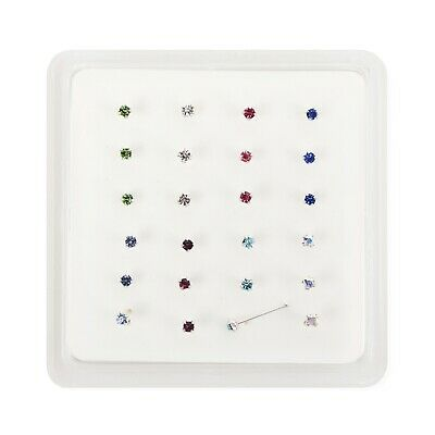 24 Sterling Silver 8 Colour Nose Posts With Ball Piercing Stud Boxed