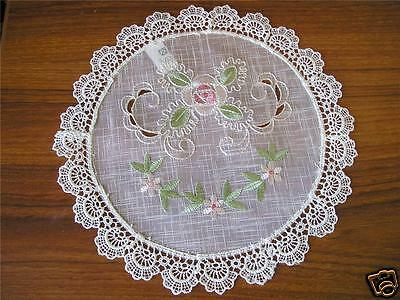Pretty Lace Edge Pink Rose Embroidery Doily 20cm Round
