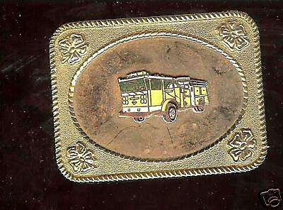 old FIRE Truck Dept FD  Buckle  Goldpl Enamel