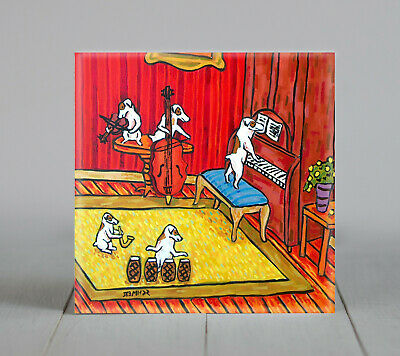 jack russell jam band picture ceramic art tile coaster