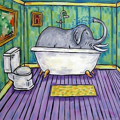 Elephant taking a Bath bathroom art tile coaster gift