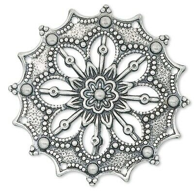 10 Antiqued Silver Plated Brass 34x34mm Filigree Flower Connectors