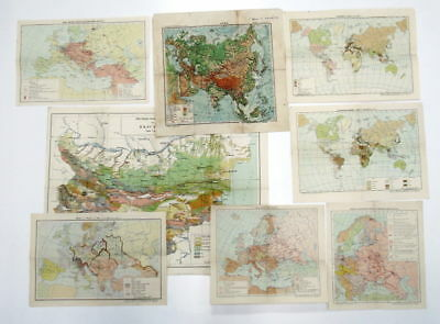 Lot Old 8 International Geographical Historical Maps