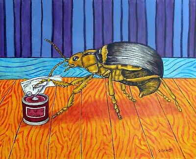 BOMBARDIER BEETLE OPENING A CAN ceramic insect art tile coaster gift artwork