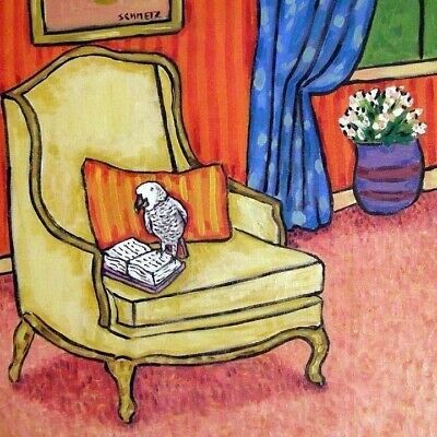 African Grey Parrot reading library art tile coaster gift gifts coasters tiles
