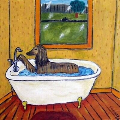 Afghan Hound BATH picture 4.25 dog pet art tile coaster
