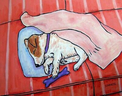 BABY JACK RUSSELL ASLEEP ON COUCH 8x10 dog art print