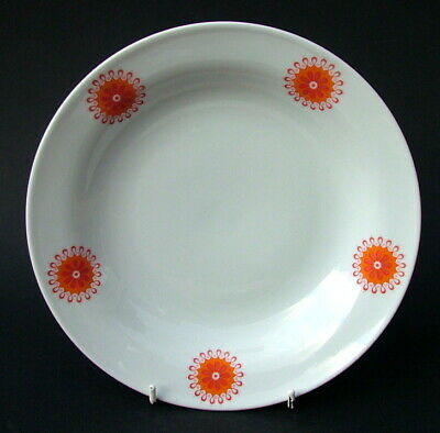 Winterling Bavaria Red & Orange Symmetrical Rim Soup Dessert Pasta Plates 22.5cm