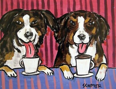 BERNESE MOUNTAIN DOG COFFEE 8x10 signed art PRINT animals impressionism gift new