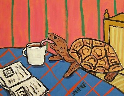 TURTLE coffee reproduction of painting animal art print poster 8x10