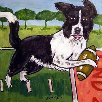 Border Collie football touchdown ceramic coaster  DOG art tile coasters gifts