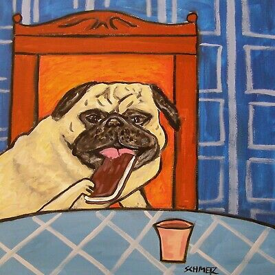 PUG ICE CREAM SANDWICH  animal ceramic DOG pet art tile coaster artwork gift