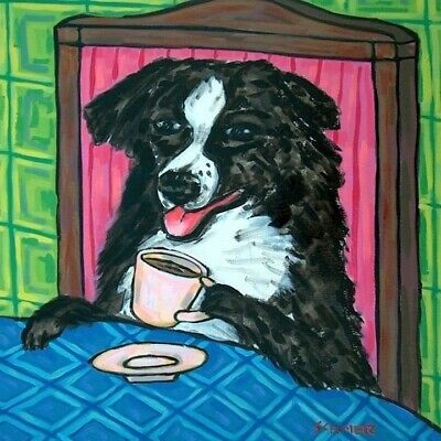 AUSTRALIAN SHEPHERD COFFEE dog pet picture art tile