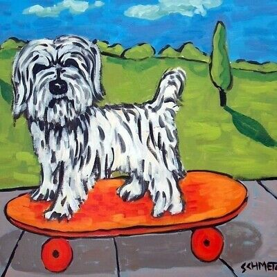 havanese skateboard ceramic animal dog art tile coaster
