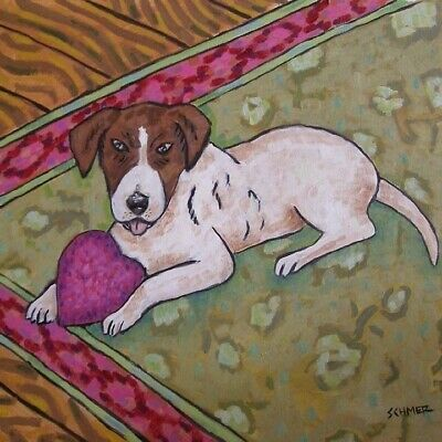 Jack Russell W/ Heart toy dog art tile coaster gift