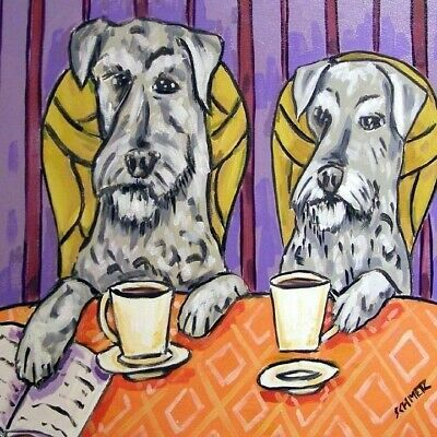 2 schnauzer coffee picture animal dog art tile coaster