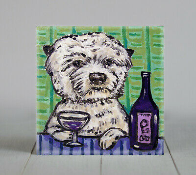 WEST HIGHLAND WHITE TERRIER  at the wine bar dog art tile coaster gift